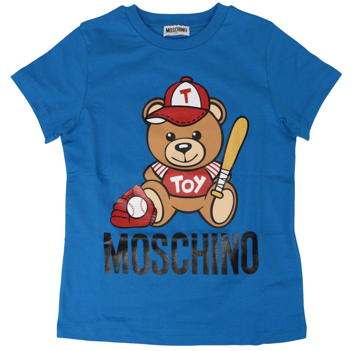 Cotton t-shirt with bear logo print Bluette Moschino
