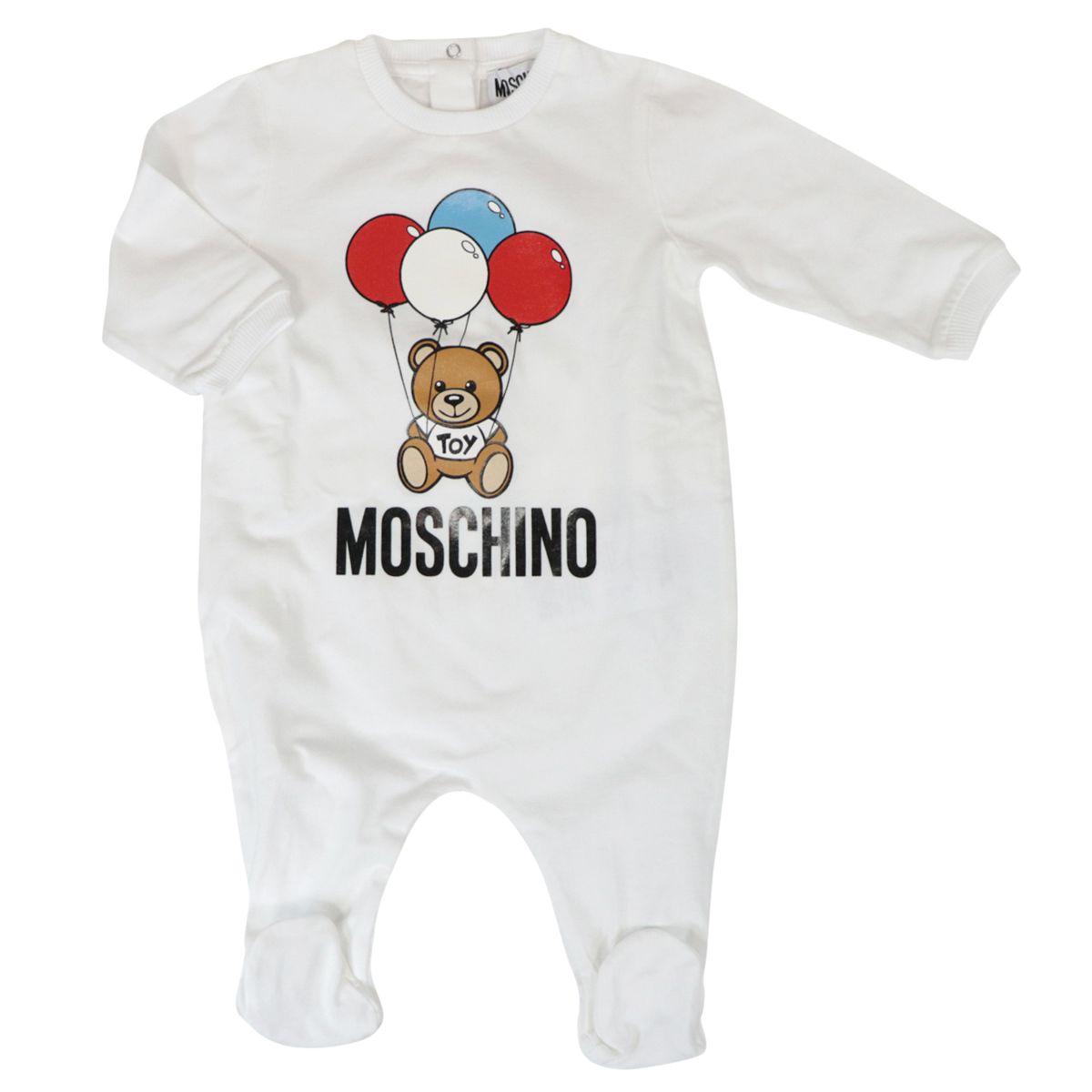 Cotton onesie with bear logo print Optical white Moschino
