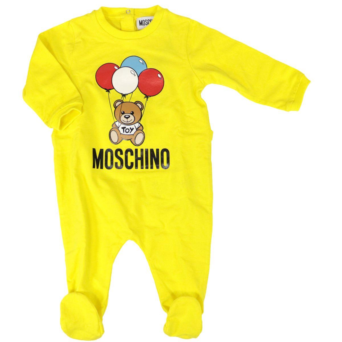 Cotton onesie with bear logo print Yellow Moschino
