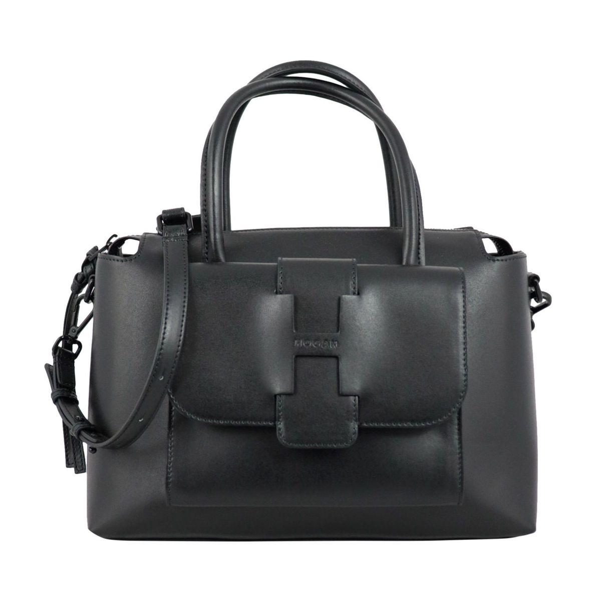 Leather trunk bag with shoulder strap Black Hogan