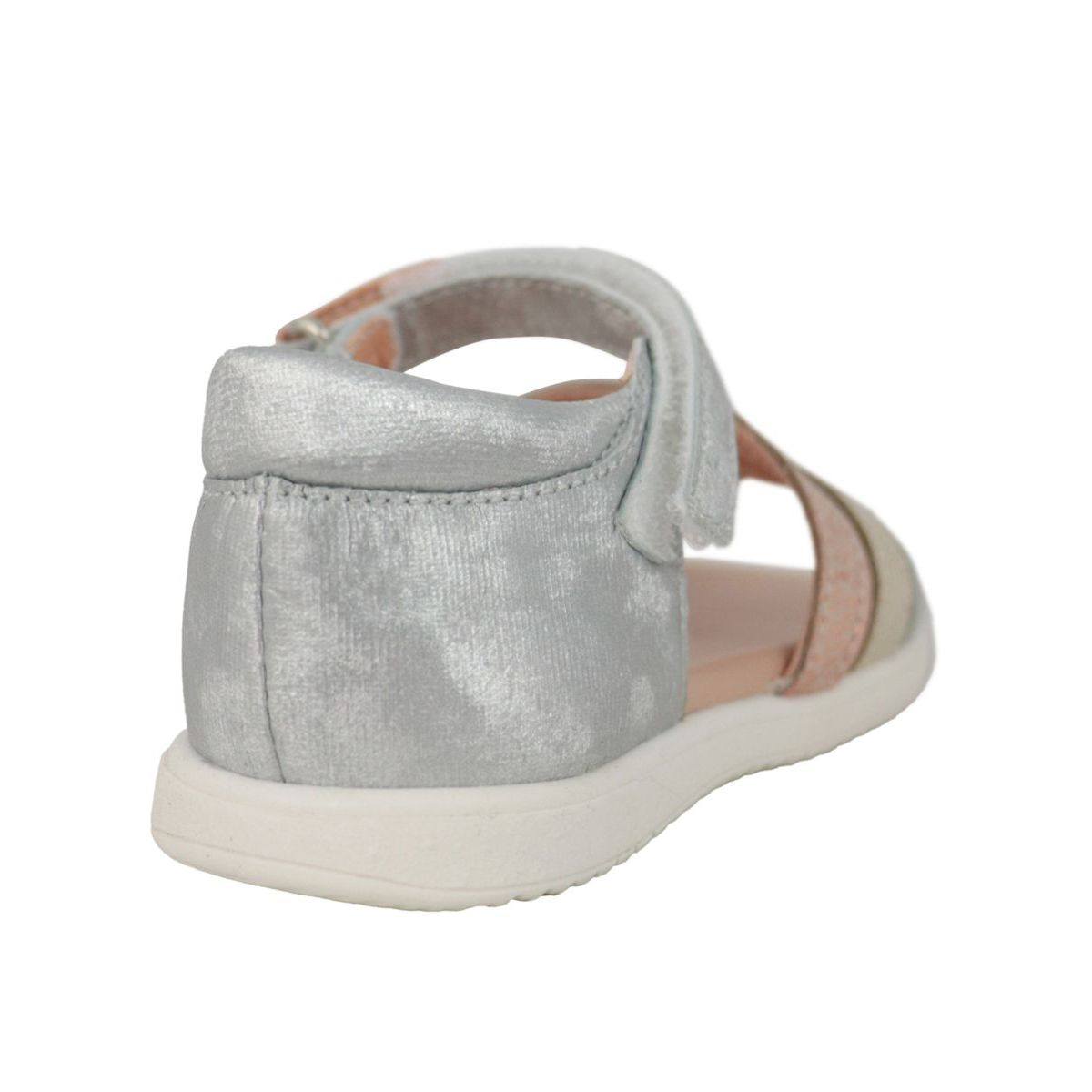 Sandal in lurex leather with buckle Platinum Clarys