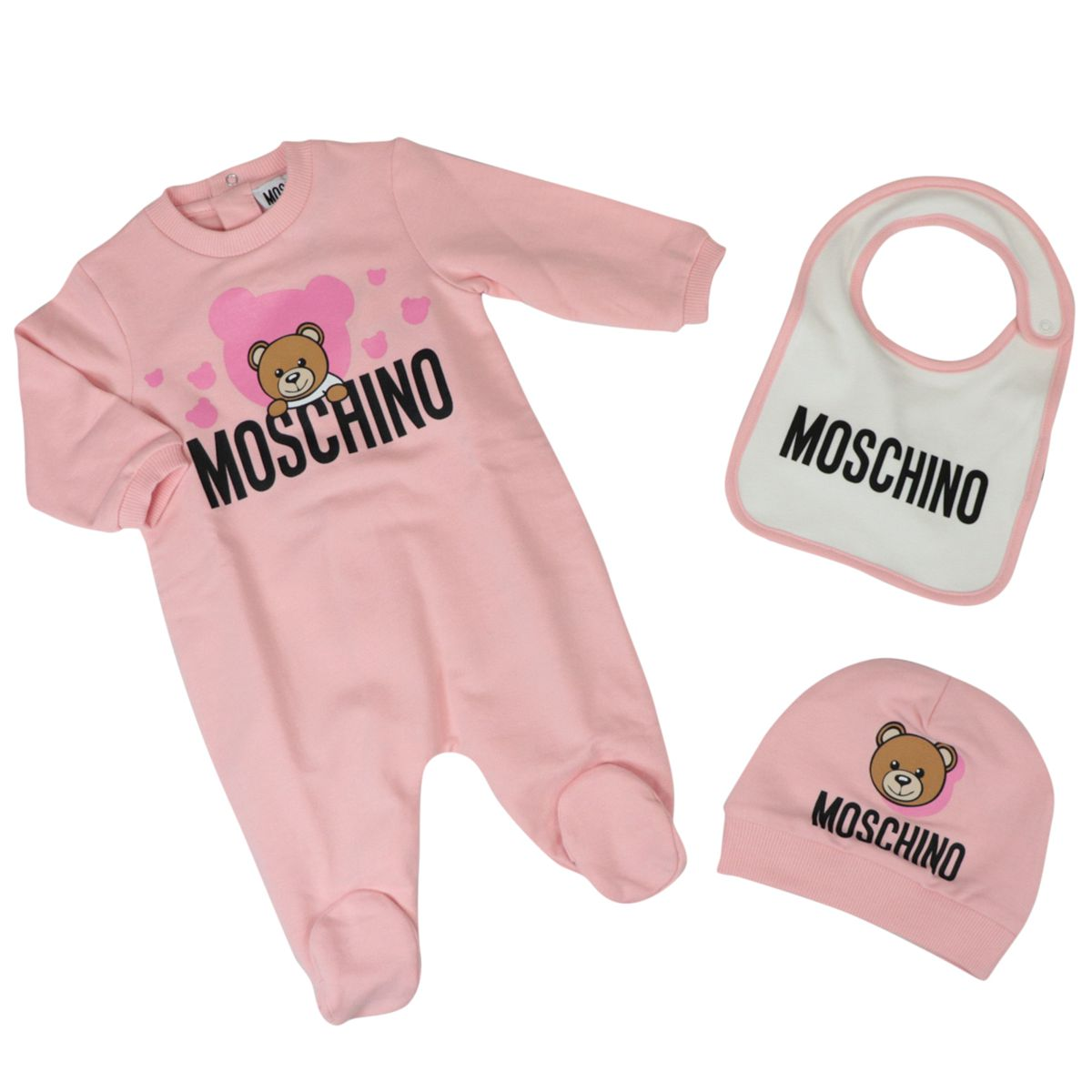 Cotton playsuit with bib and cap Rose Moschino