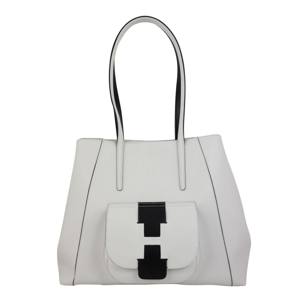 Leather shoulder bag with front pocket White Hogan