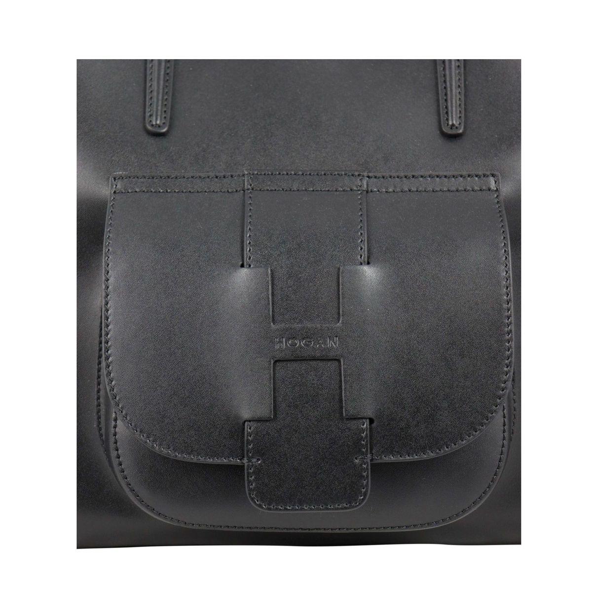 Leather shoulder bag with front pocket Black Hogan