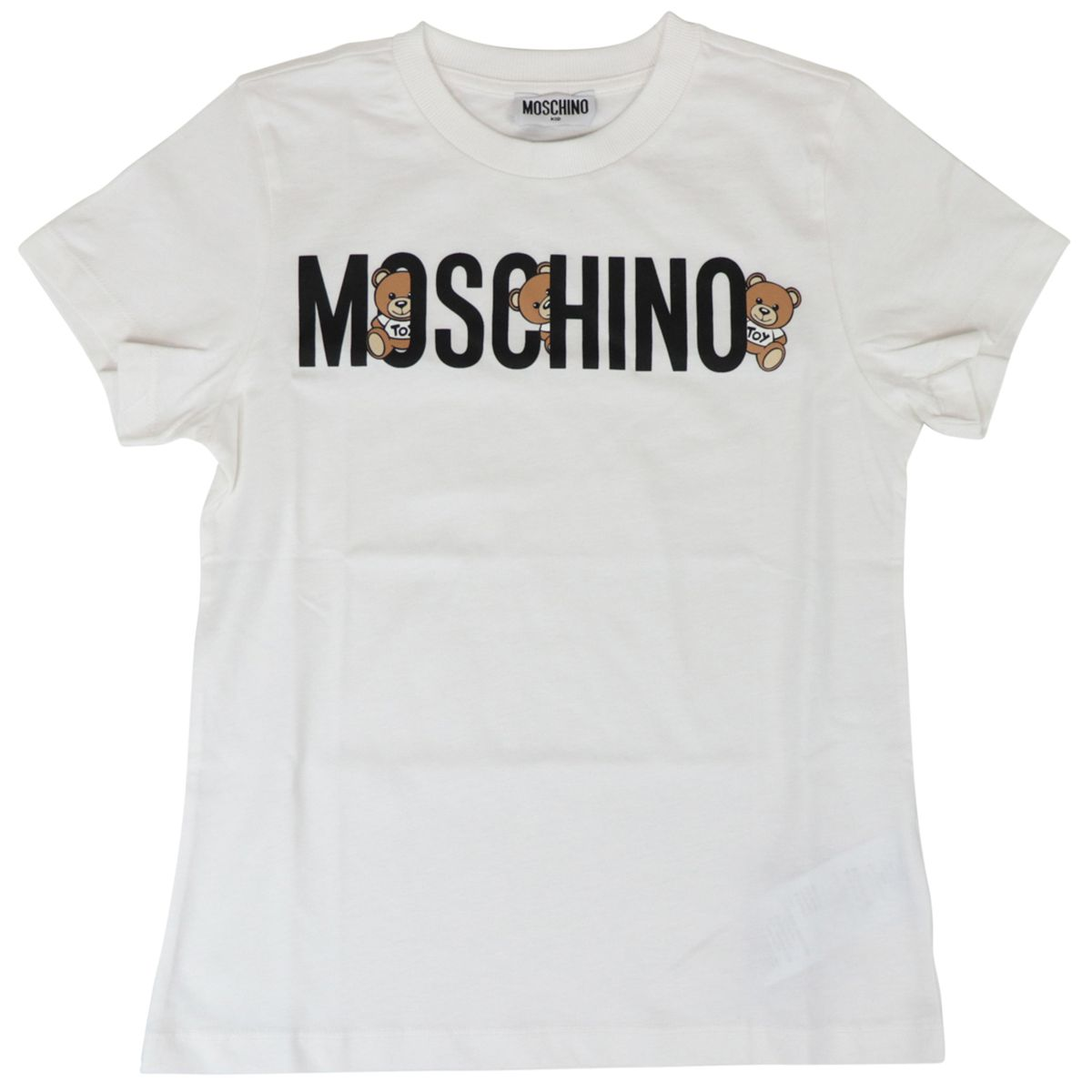 Cotton t-shirt with logo and bear print Optical white Moschino