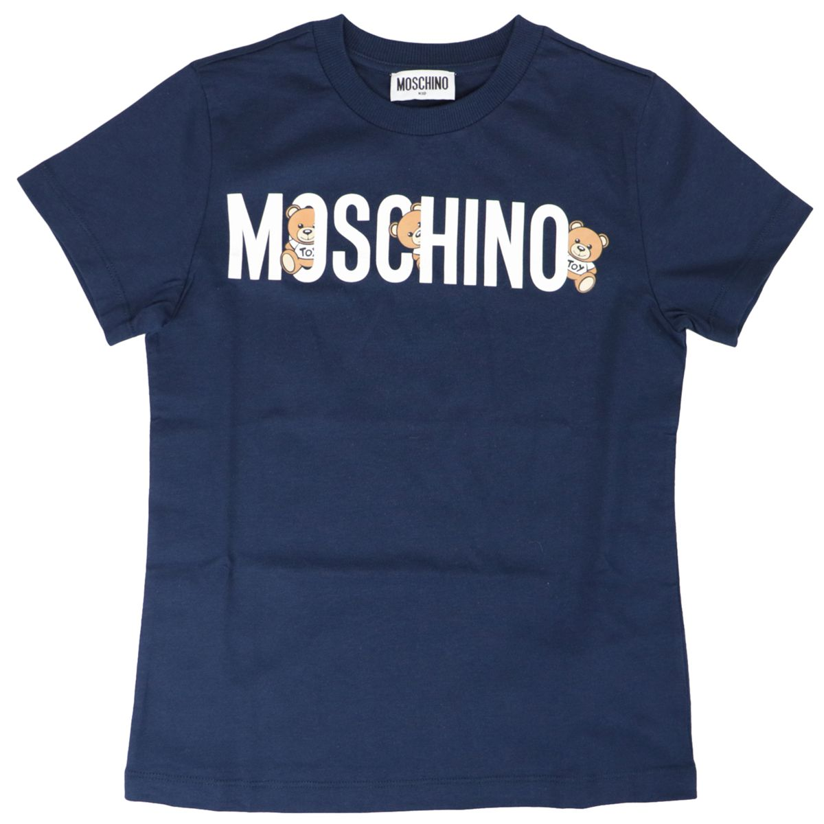 Cotton t-shirt with logo and bear print Navy Moschino