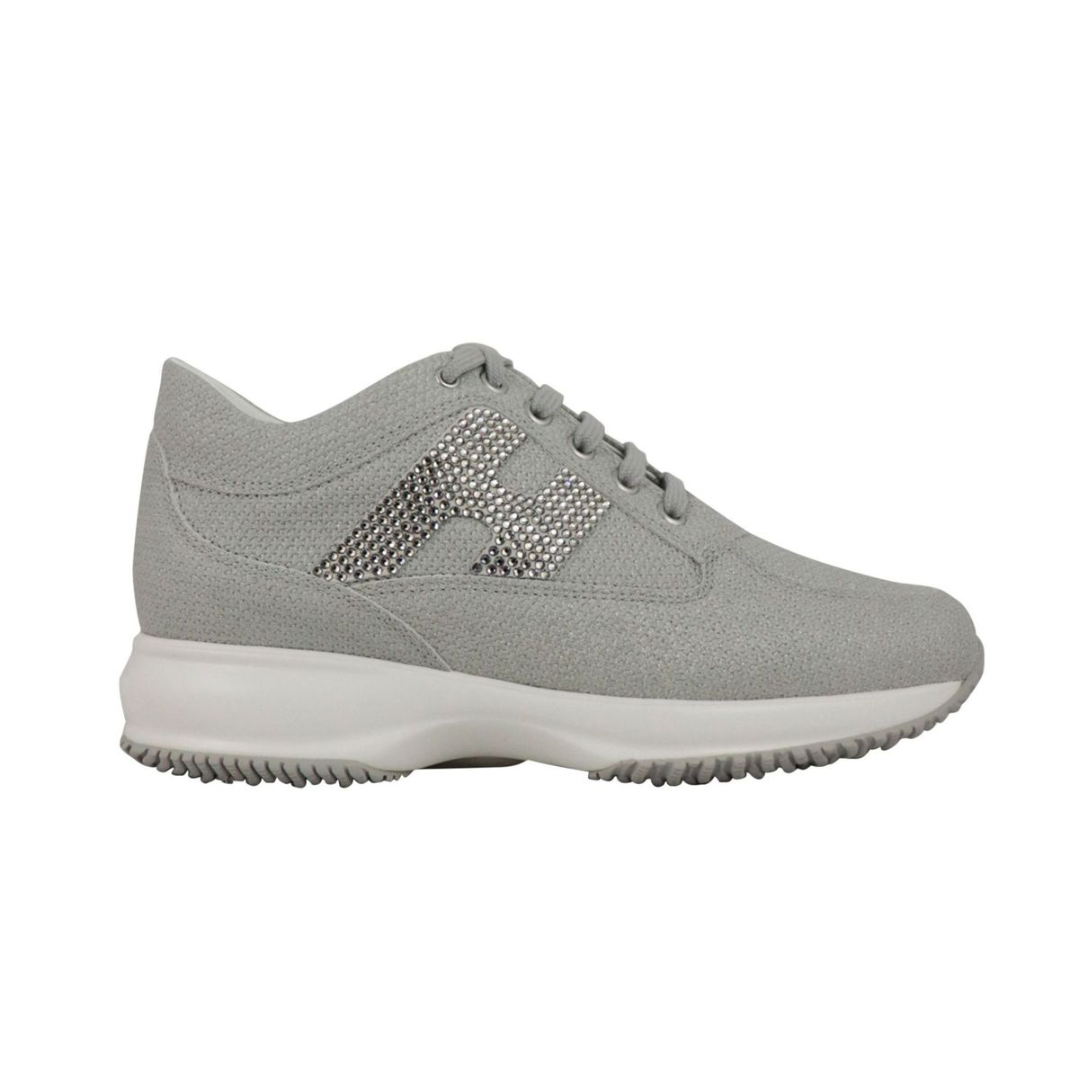Interactive sneakers in textured leather with H strass Ice Hogan