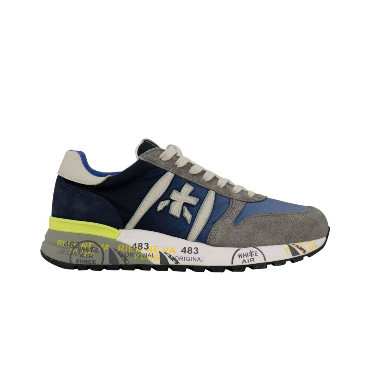 Lander sneakers in suede and fabric with prints Gray / blue Premiata