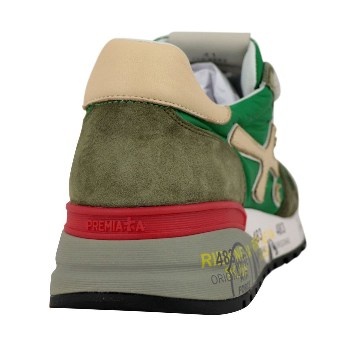 Mick sneakers in suede and nylon with prints Olive Premiata