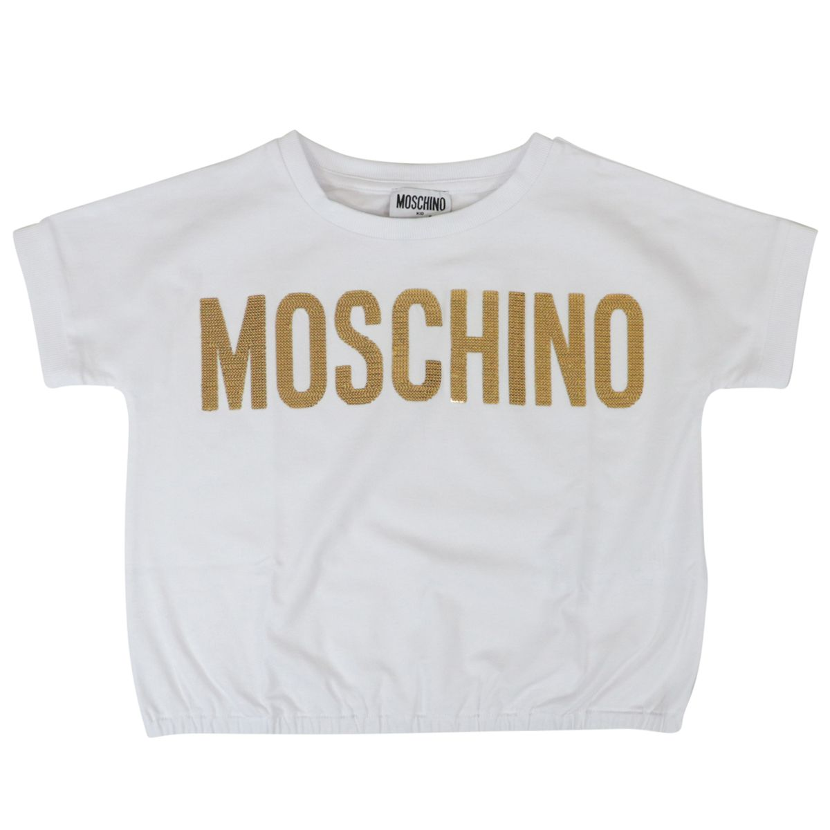 Cropped cotton T-shirt with logo insert Optical white Moschino