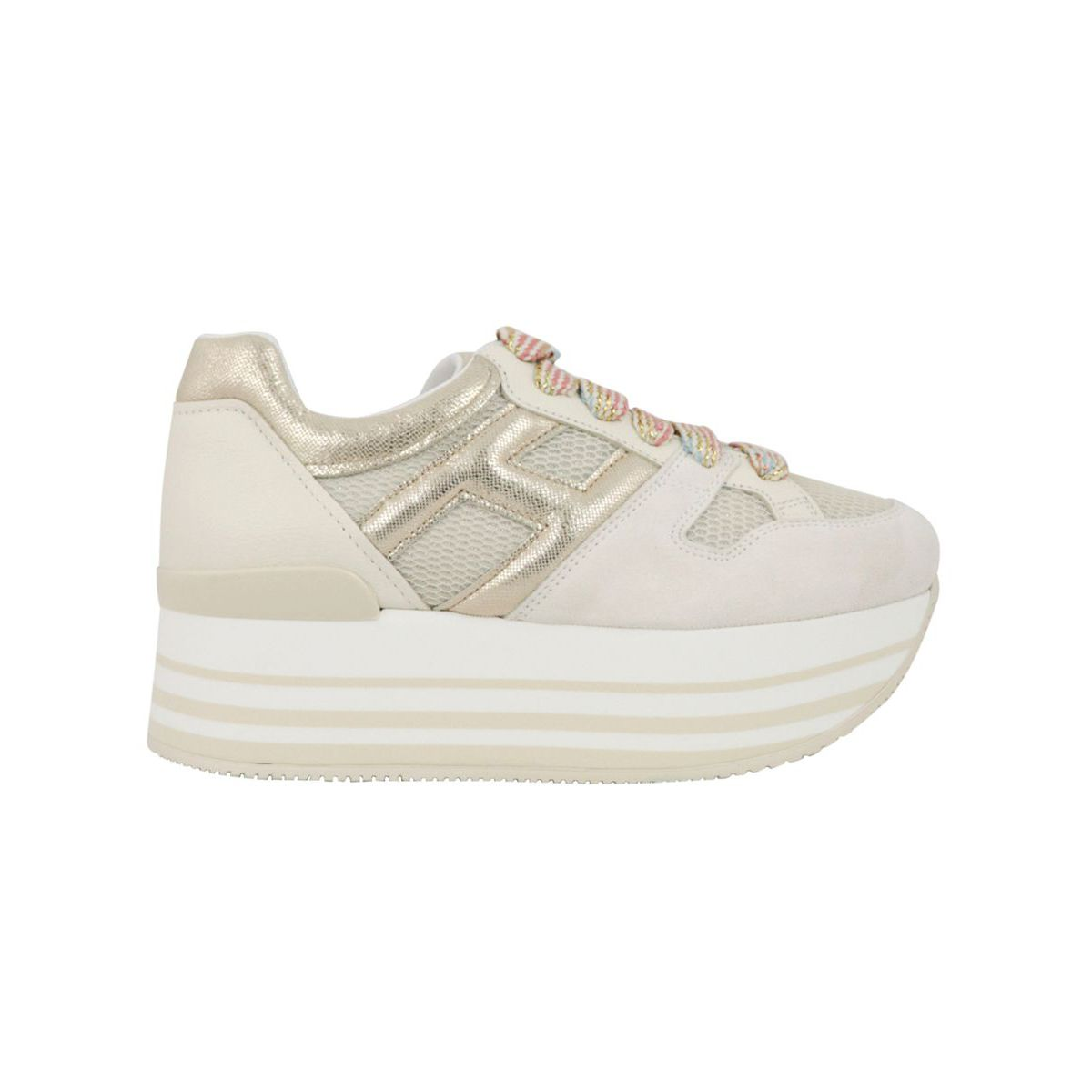 Suede platform sneakers with H in lurex leather Gold Hogan