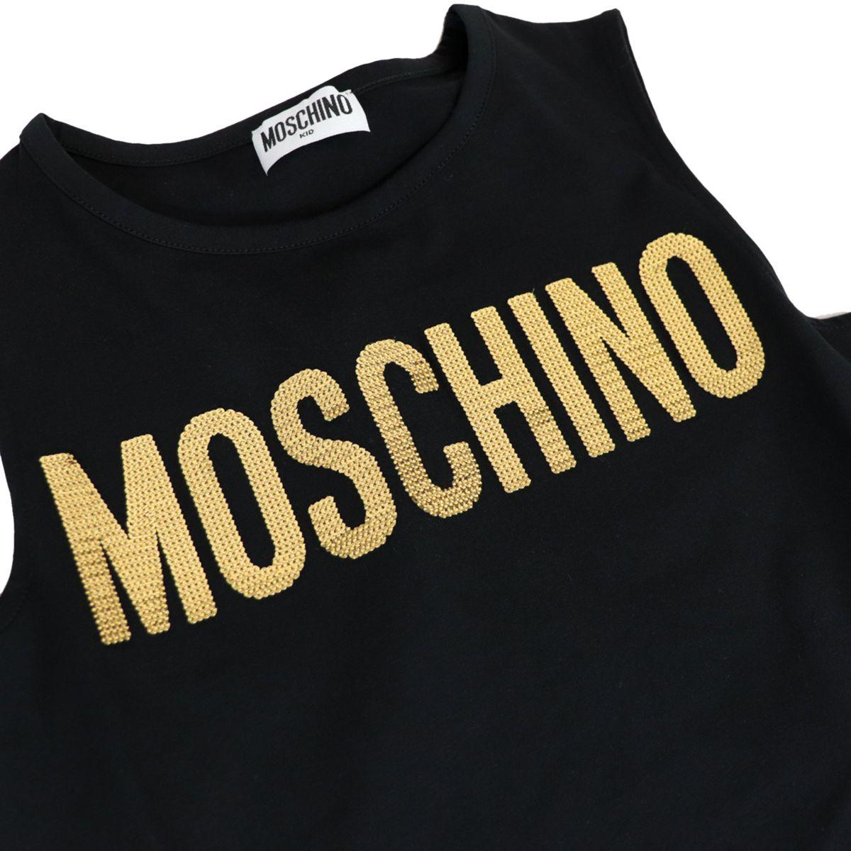 Sleeveless jersey dress with sequin logo Black Moschino