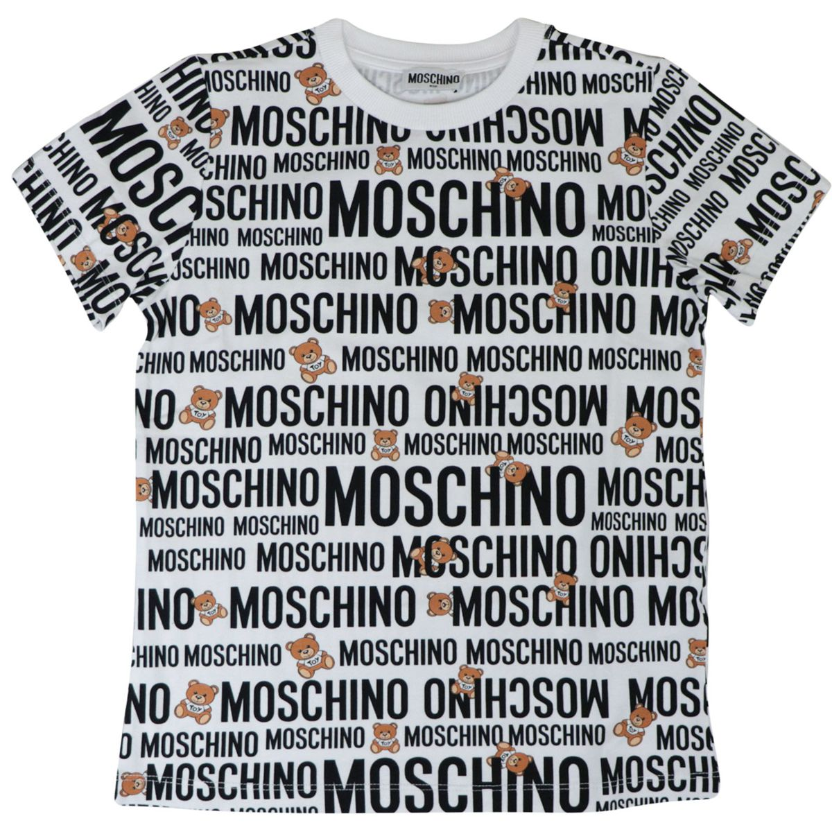Cotton T-shirt with all over logo lettering print Optical white Moschino