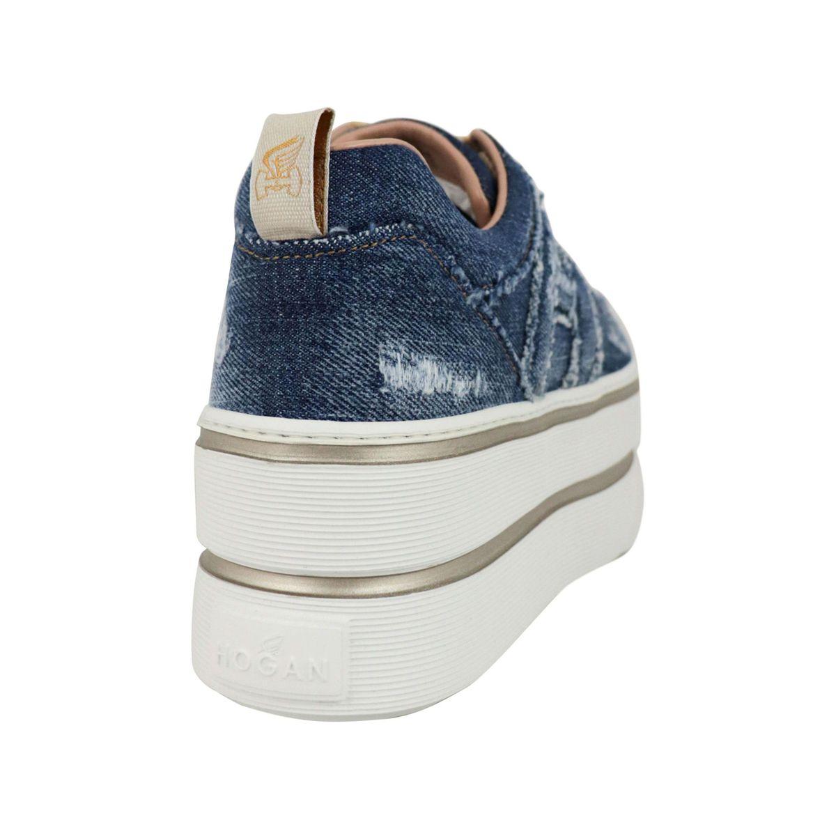 Maxi sneakers in denim canvas Blue jeans Hogan