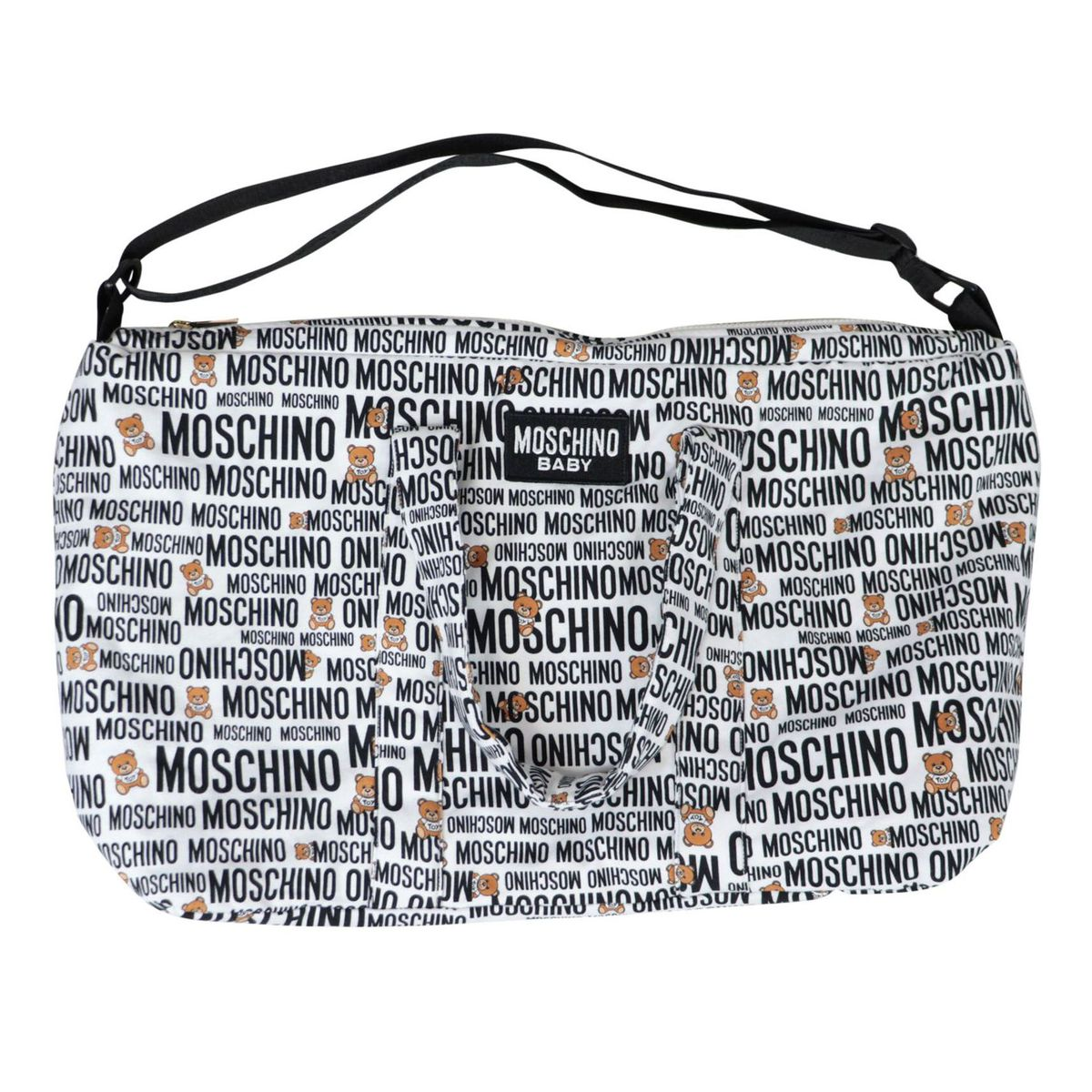 Cotton bag with all-over logo print changing mat Fantasy white Moschino
