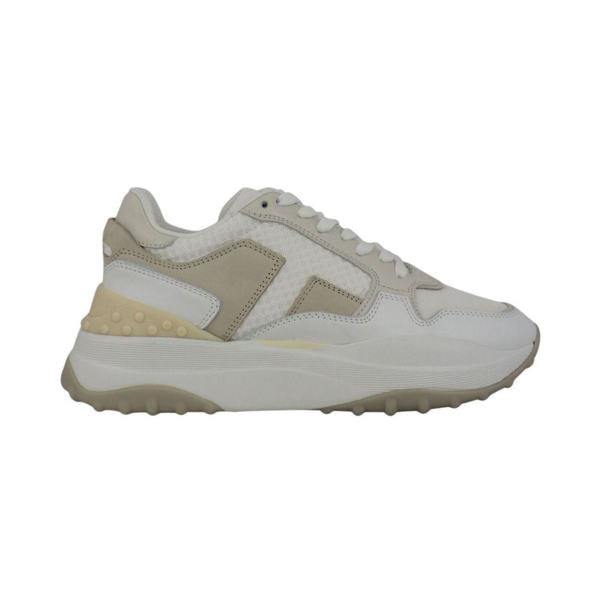 Two-tone sneakers in leather and nylon White / beige Tod's