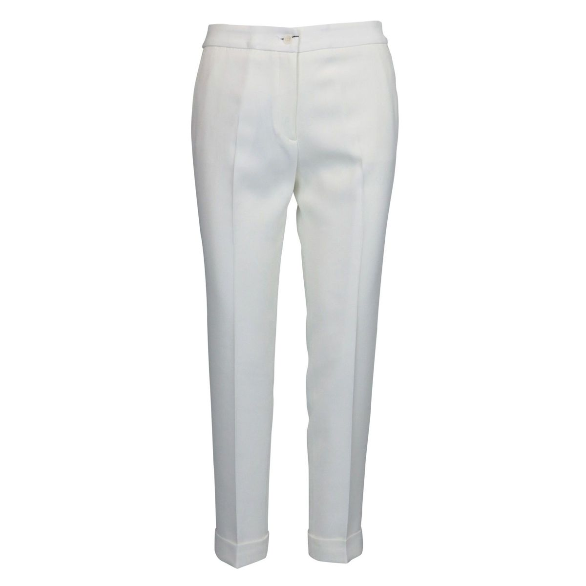 Crepe trousers with ironed crease and welt pocket White Etro