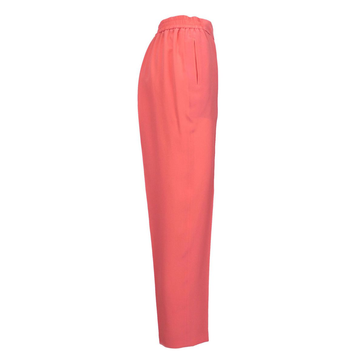 Cigarette silk trousers with stretch crease Coral Etro
