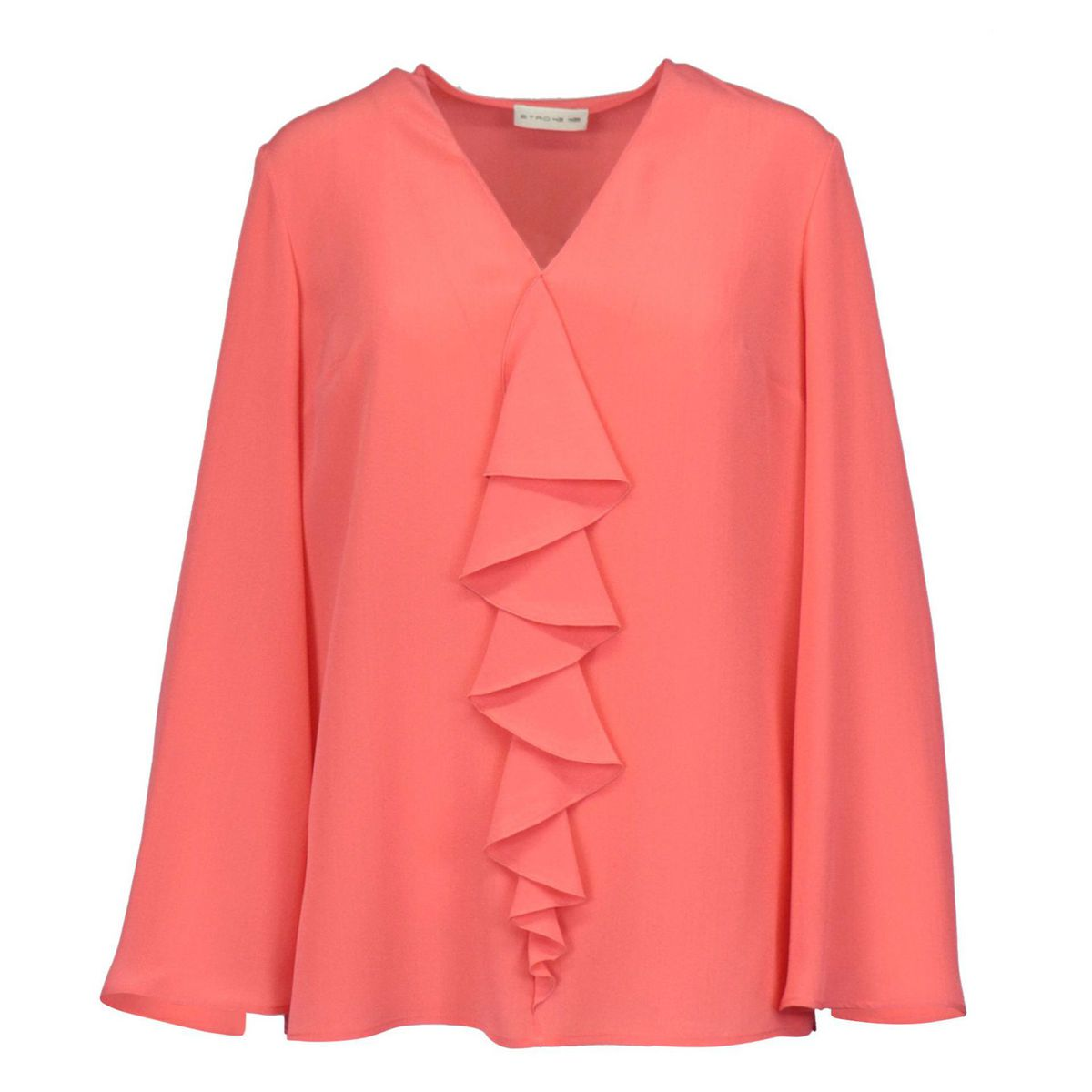Agave silk blouse with V-neckline and front ruffles Coral Etro