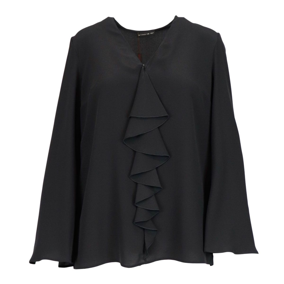 Agave silk blouse with V-neckline and front ruffles Black Etro