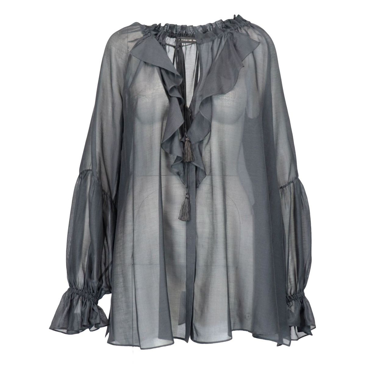 Camelia shirt in cotton and silk with ruffles Black Etro