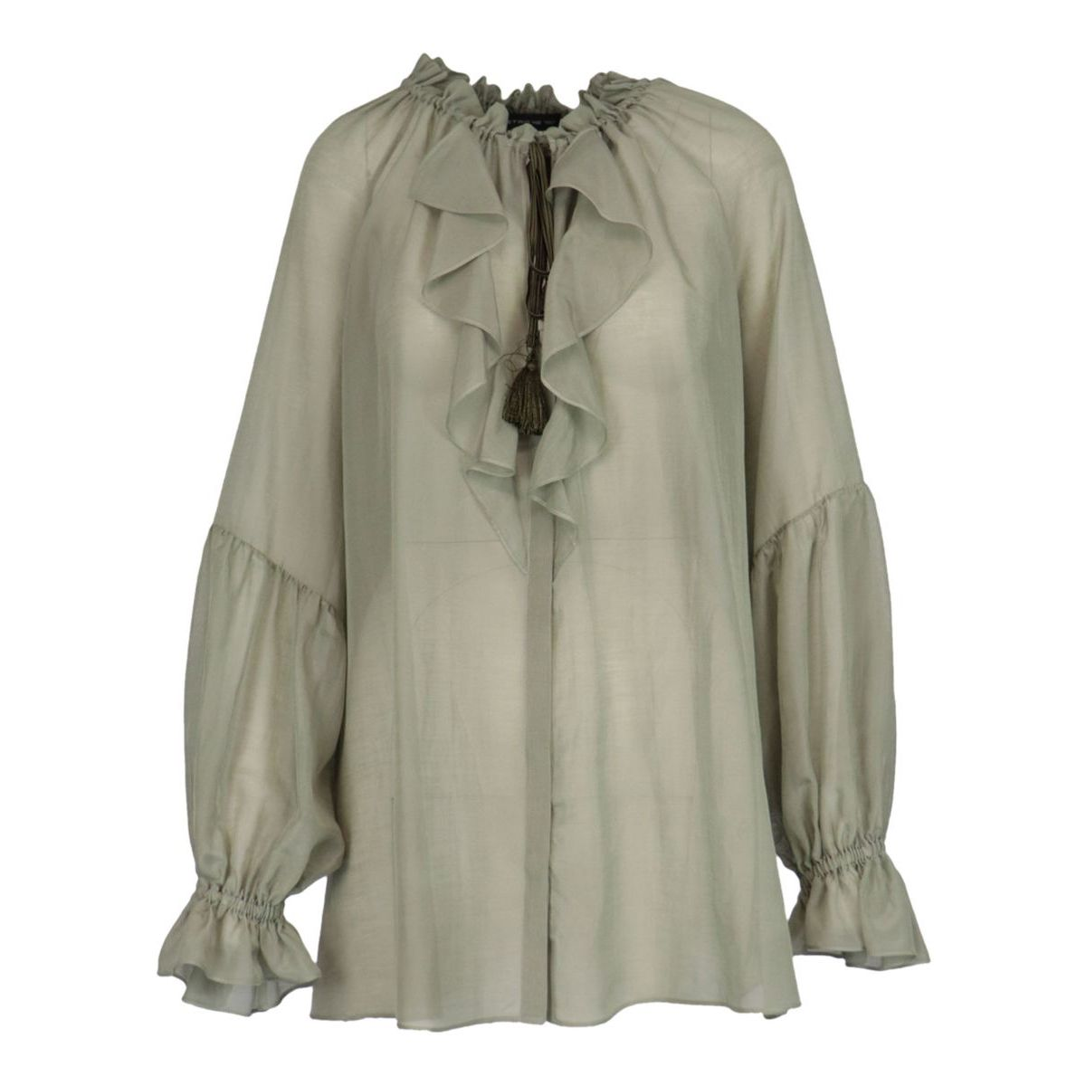 Camelia shirt in cotton and silk with ruffles Sage Etro