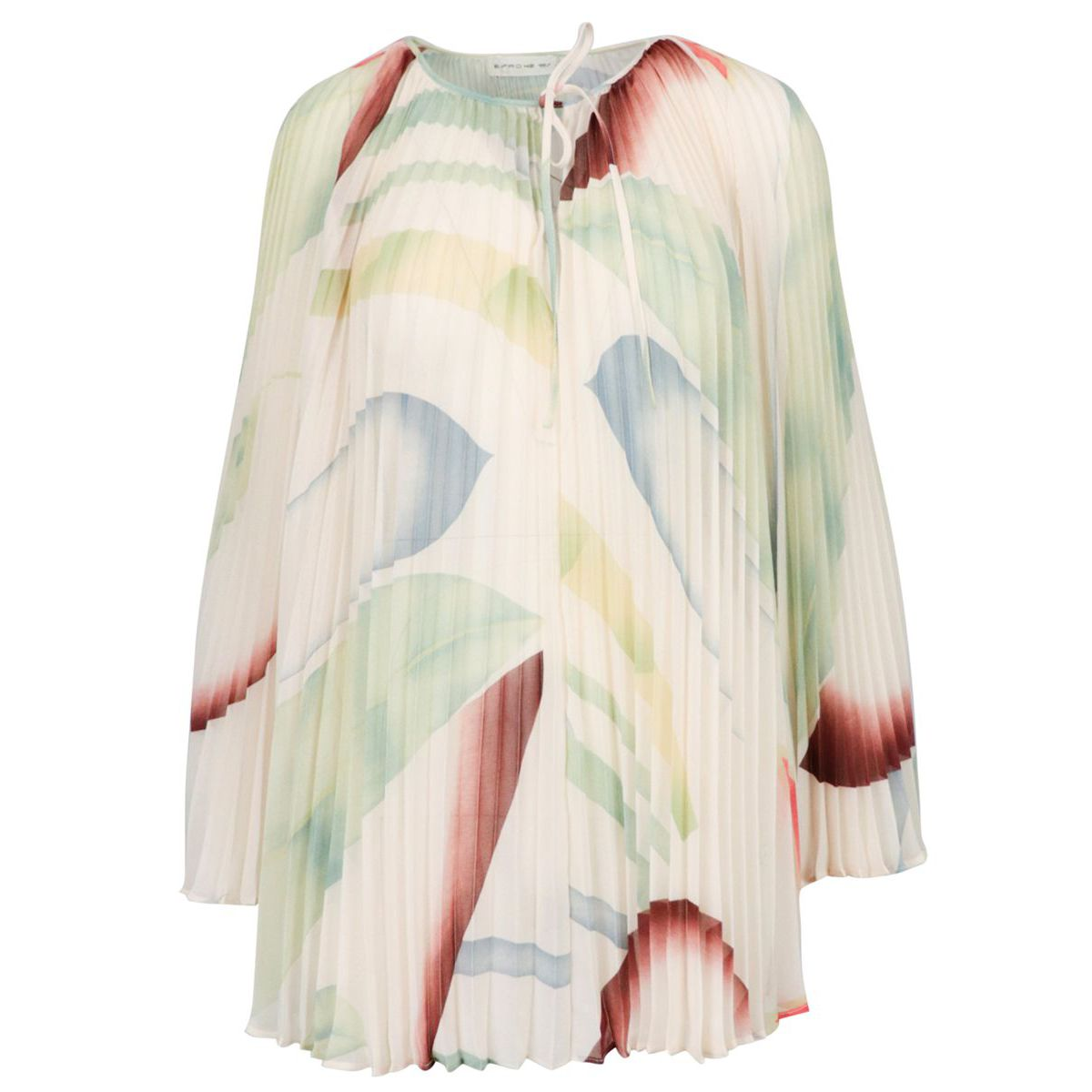 Briona long-sleeved blouse in pleated crepe Cream Etro