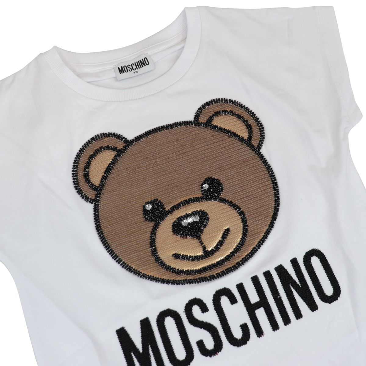 Cotton t-shirt with bear logo embroidery Optical white Moschino