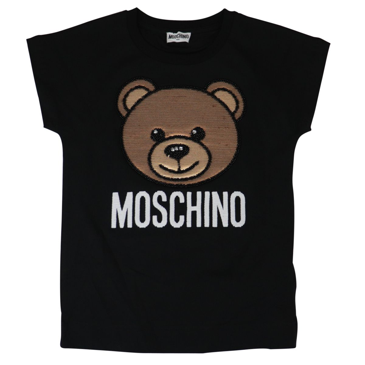 Cotton t-shirt with bear logo embroidery Black Moschino