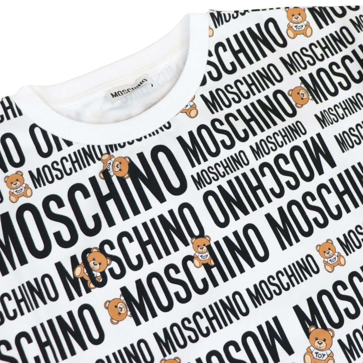 Cotton dress with all over logo lettering print White Moschino
