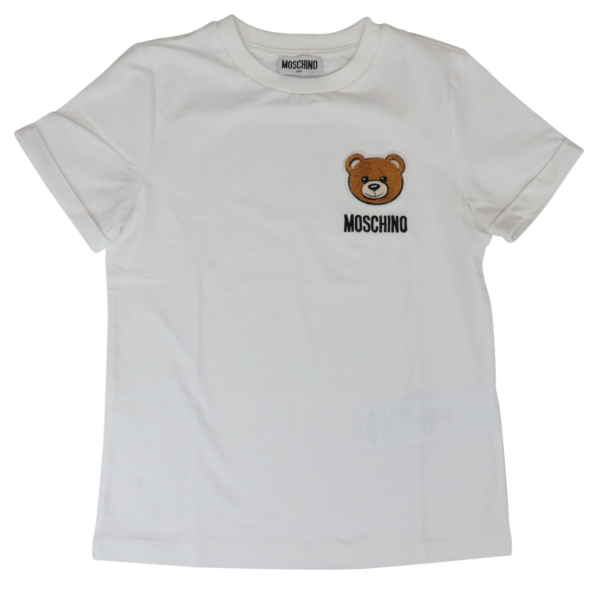 Cotton T-shirt with contrasting bear logo embroidery White Moschino