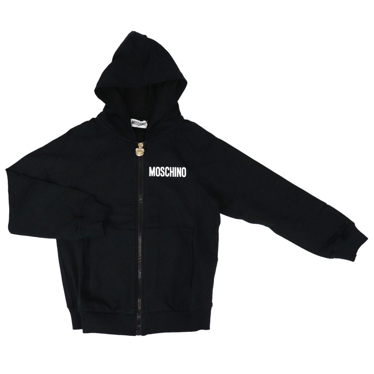 Cotton sweatshirt with hood and retro logo print Black Moschino