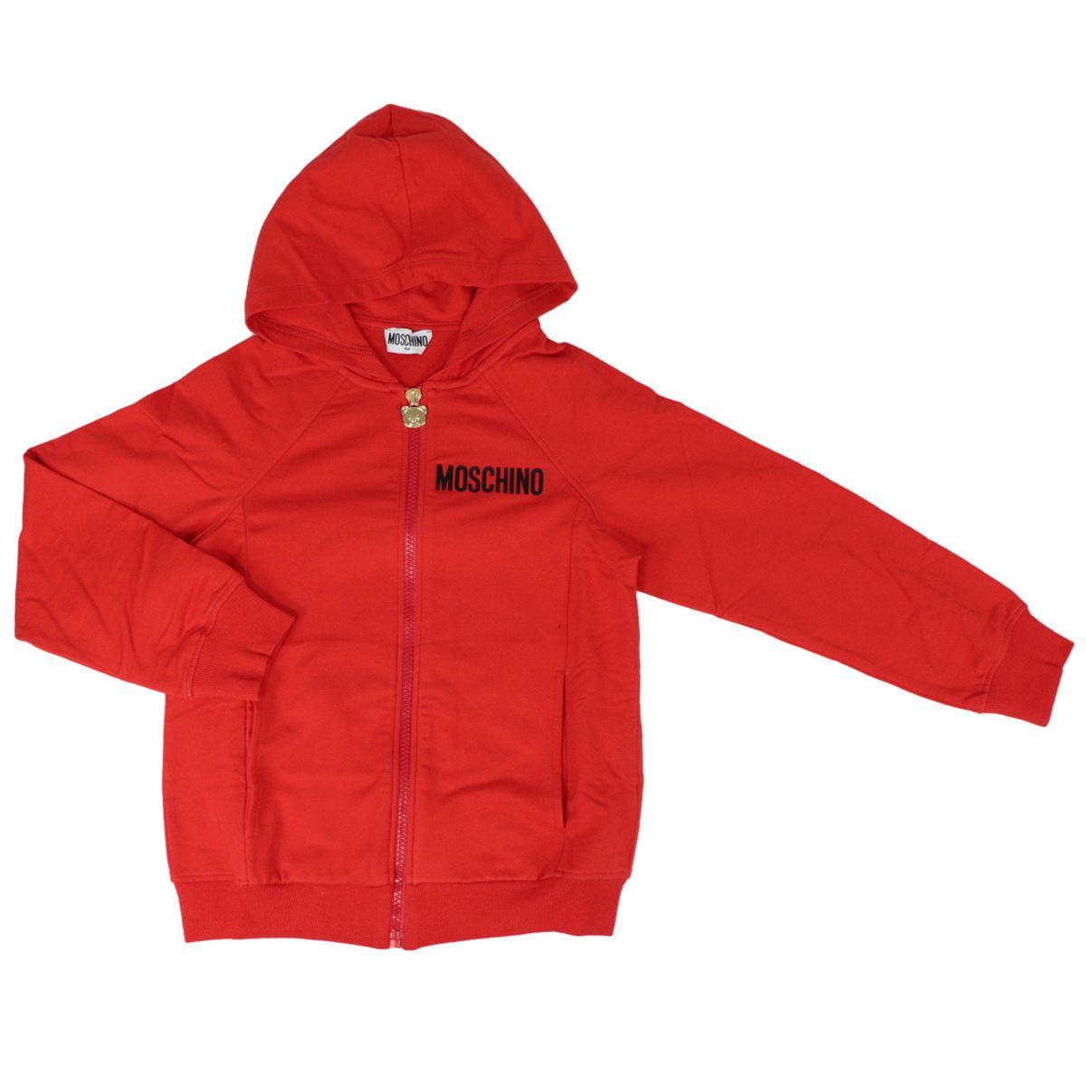 Cotton sweatshirt with hood and retro logo print Red Moschino