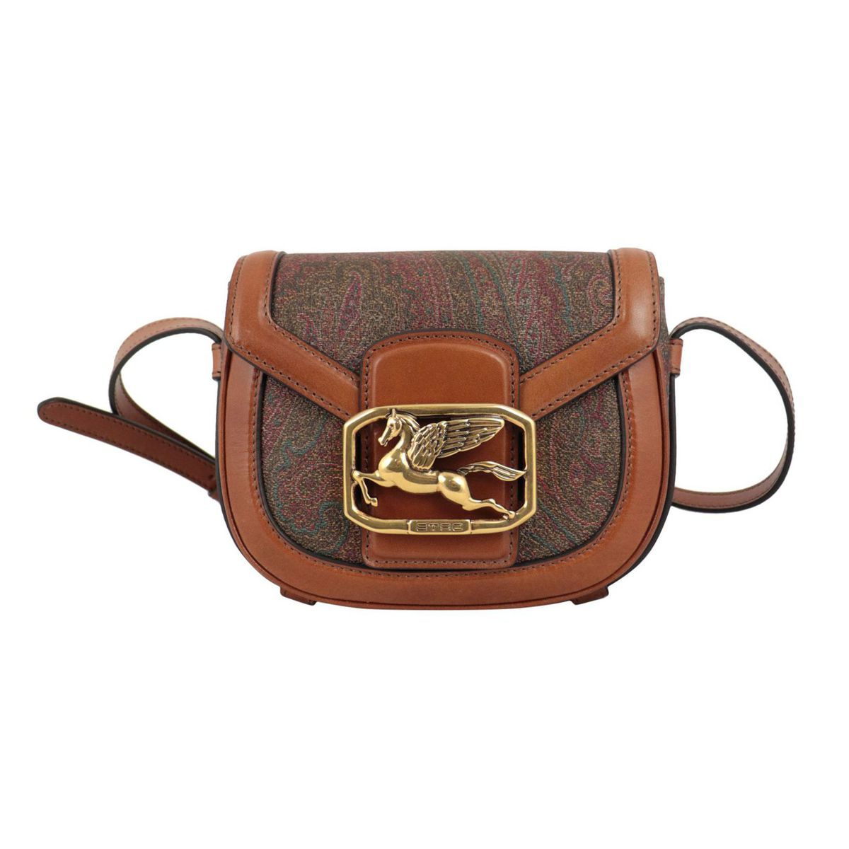 Pegaso shoulder bag in coated cotton canvas with leather Paisley print Leather Etro