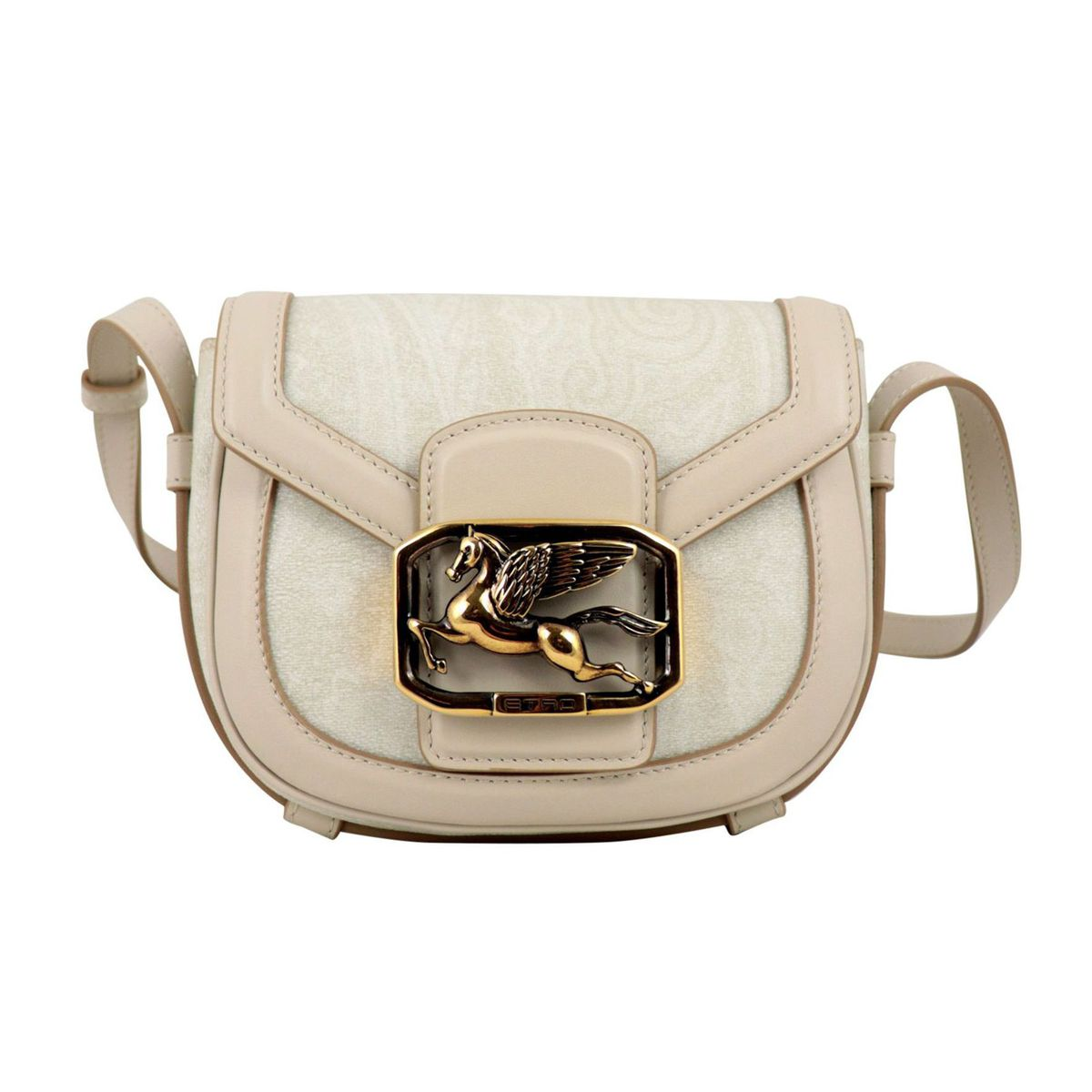 Pegaso shoulder bag in coated cotton canvas with Paisley print Cream Etro