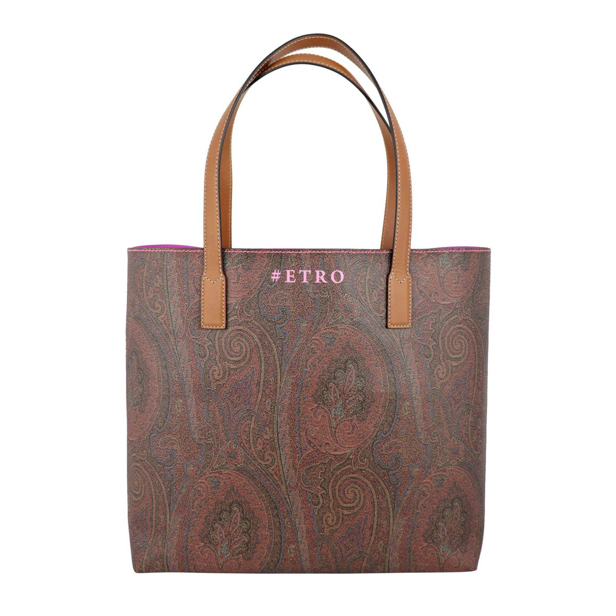Shopping bag in cotton fabric with Paisley print Leather Etro