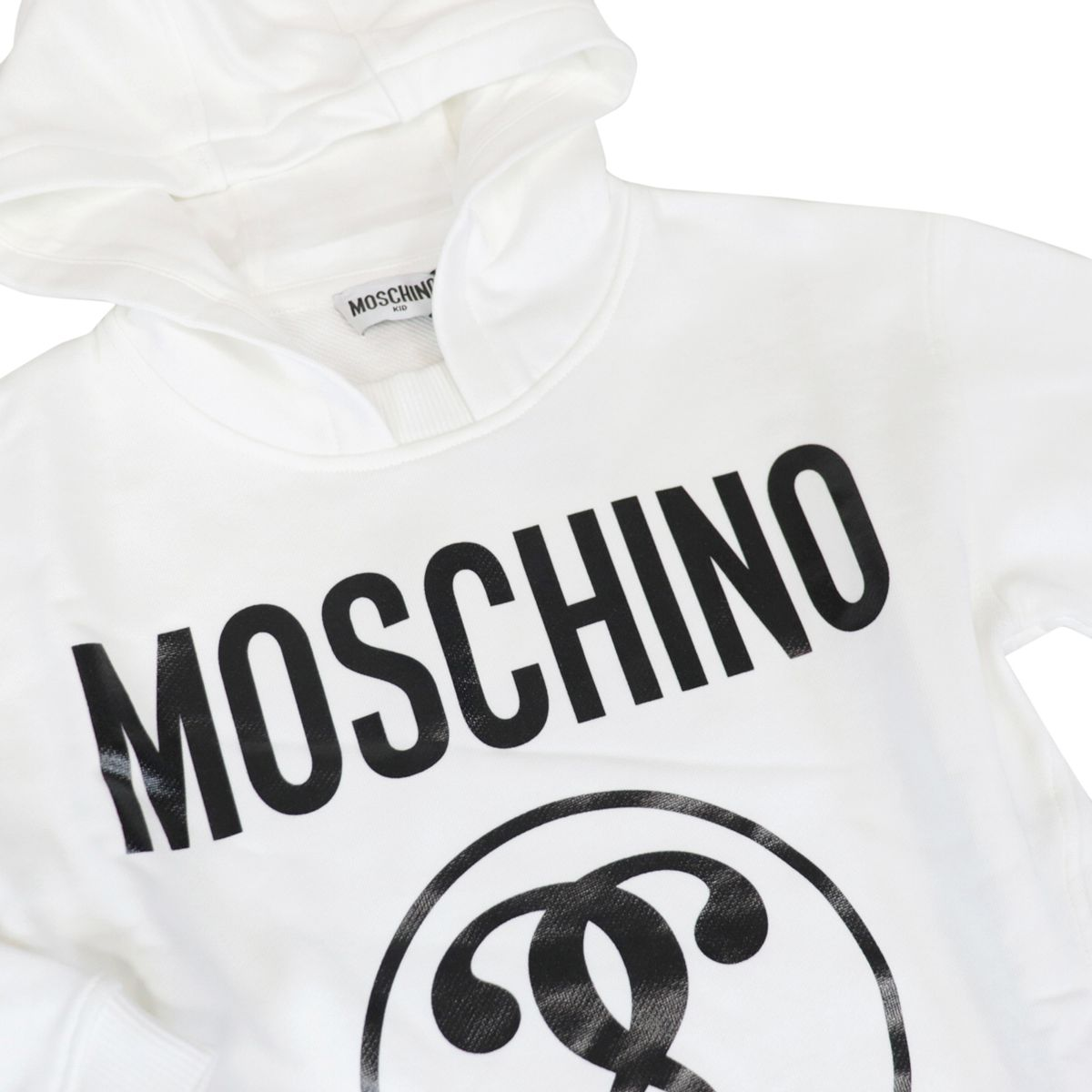 Cotton sweatshirt with hood and contrasting logo print Optical white Moschino