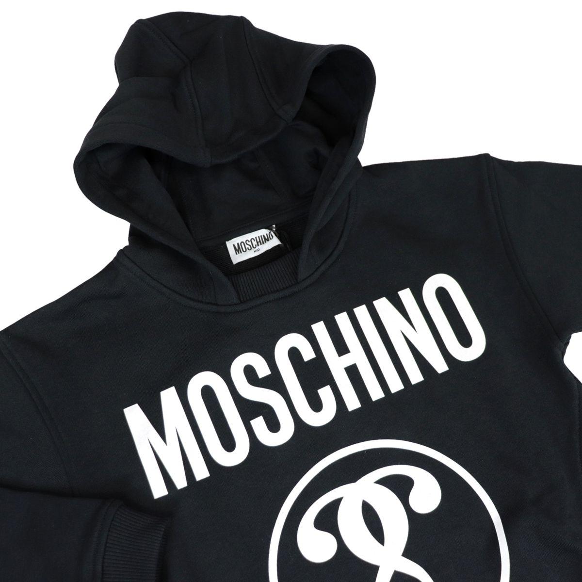 Cotton sweatshirt with hood and contrasting logo print Black Moschino