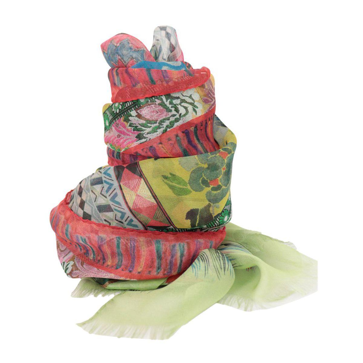 Shaal-Nur patterned silk scarf Green Etro