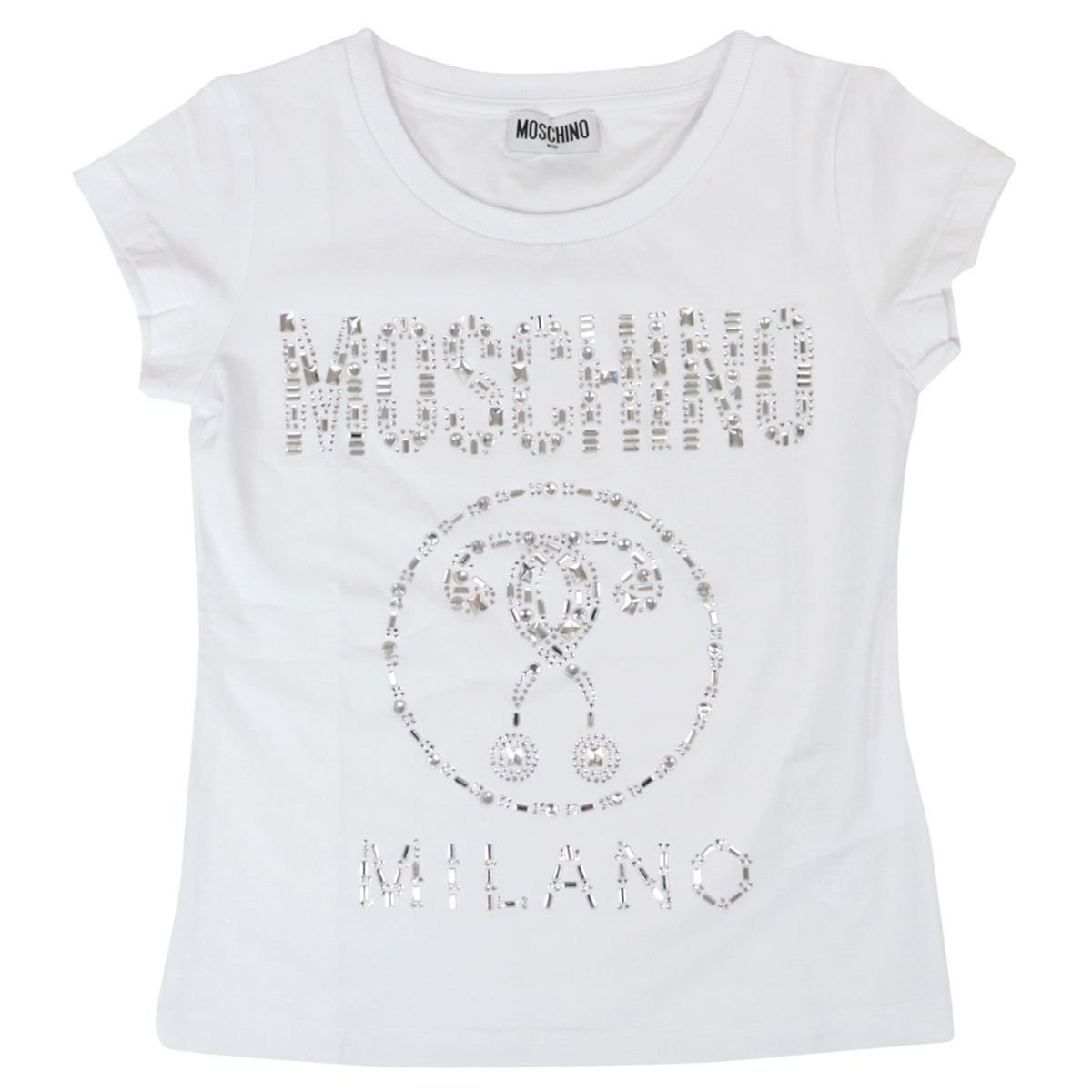 Cotton T-shirt with logo and metal inserts Optical white Moschino