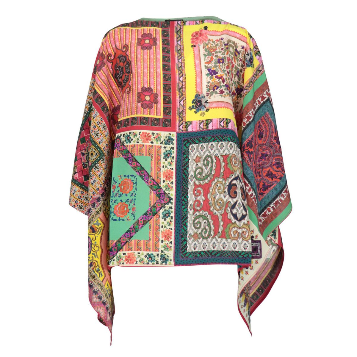 Classic poncho in patterned silk Yellow Etro