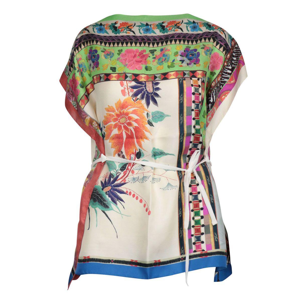 Goa poncho in floral print silk Green Etro