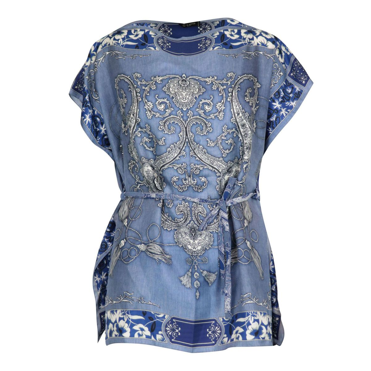 Goa poncho in printed silk Light blue Etro