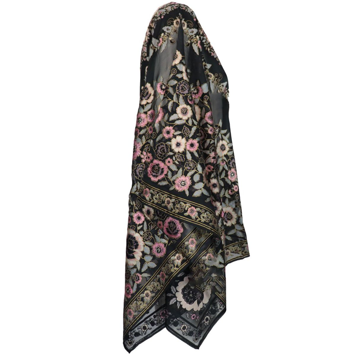 Classic poncho in silk blend with flower pattern Black Etro