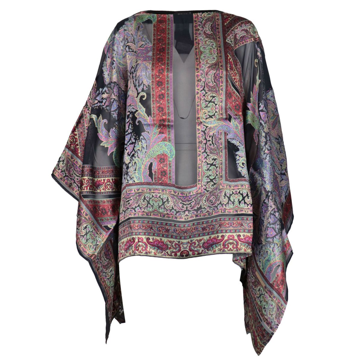 Classic poncho in patterned silk blend Black / burgundy Etro