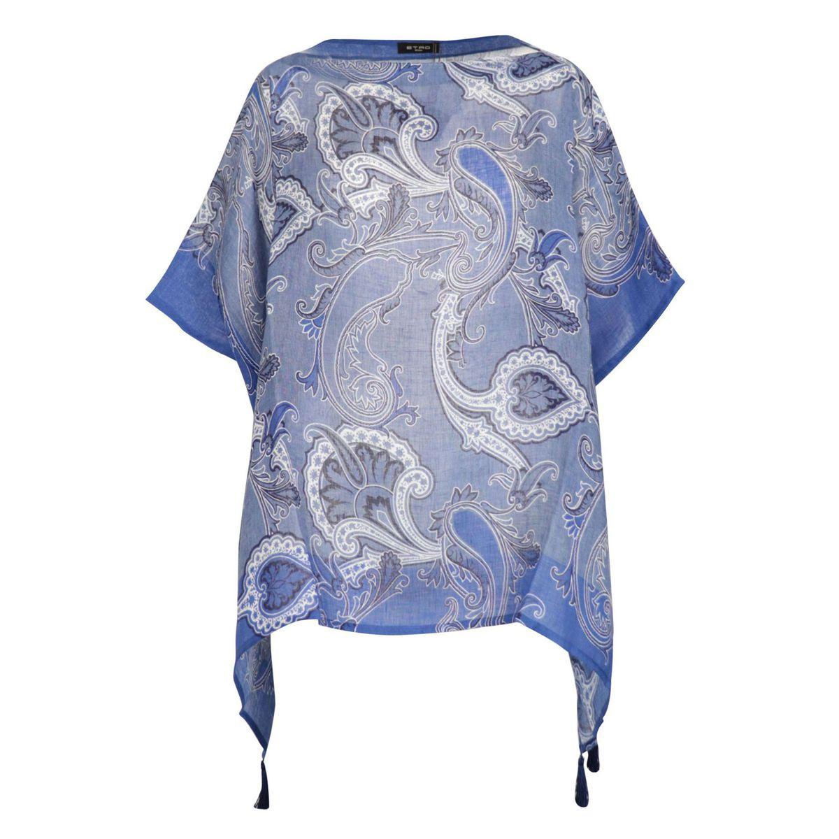Ambrosia poncho in printed linen Light blue Etro