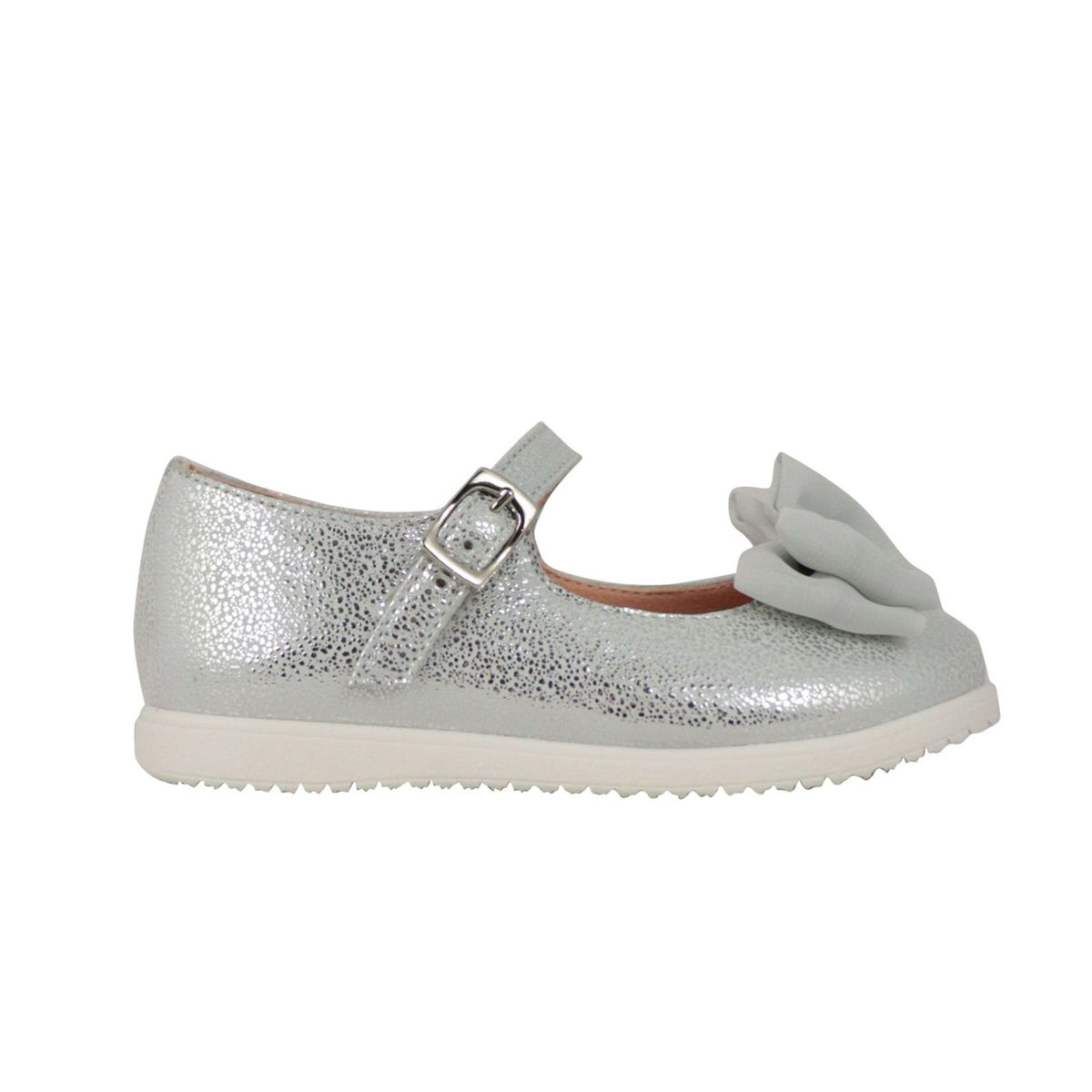 Lurex leather ballerina with front bow Silver Clarys