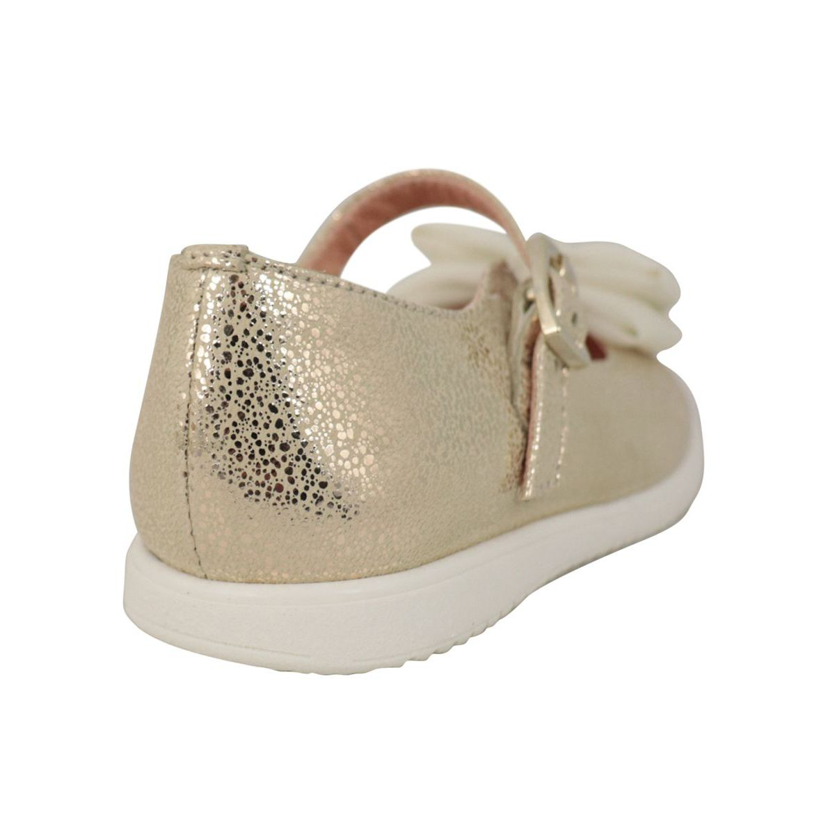 Lurex leather ballerina with front bow Gold Clarys