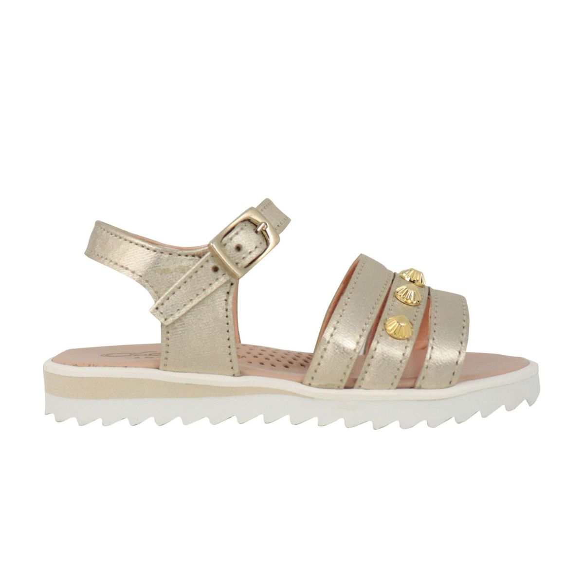 Leather sandal with buckle and studs Gold Clarys