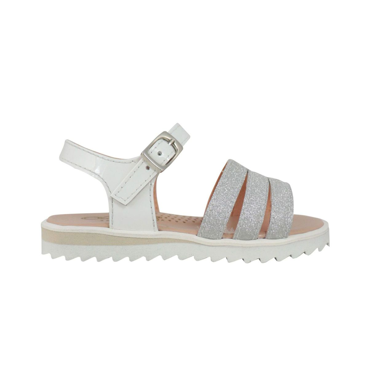 Leather sandal with glitter bands White / silver Clarys